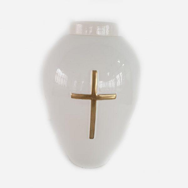 Керамична урна за кремация Овал Бяла с Кръст