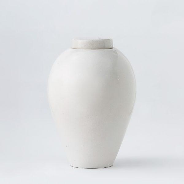 Керамична урна за кремация - Овал Бяла